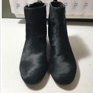 Zara Womens Calf Hair Ankle Boots Black Size 6